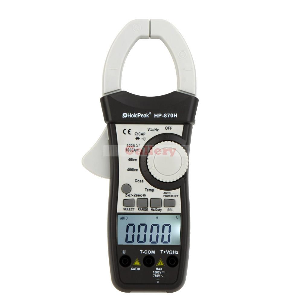 купить HoldPeak HP-870H Dual Display AC/DC Clamp Meter Voltage Current Resistance Capacitance Frequency Temperature Digital Multimeter по цене 5671.67 рублей
