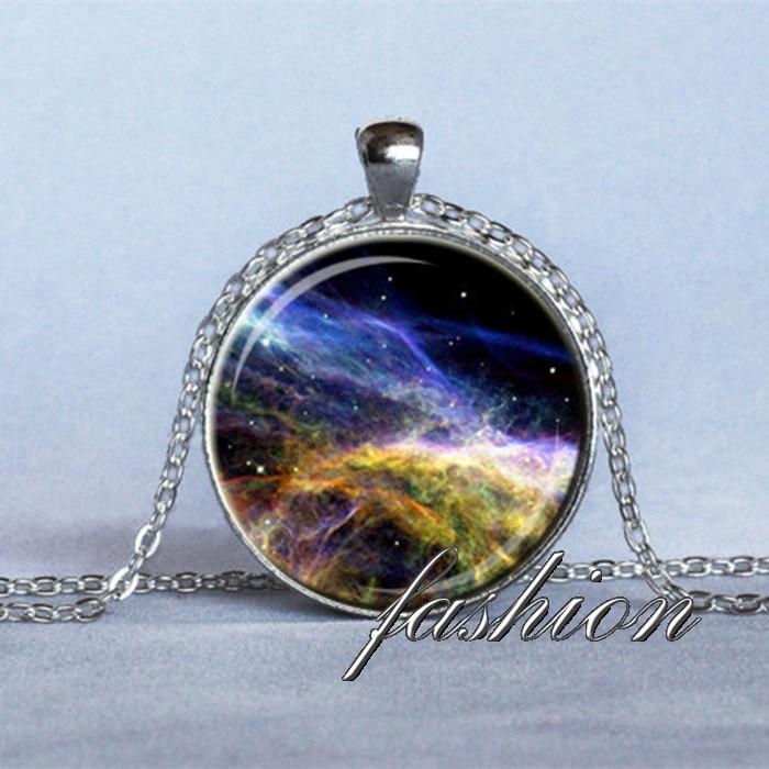 NEBULA PENDANT Veil Nebula Necklace Blue Black Pink Light Green Science Jewelry Astronomer Gift Space Pendant Geek Jewelry