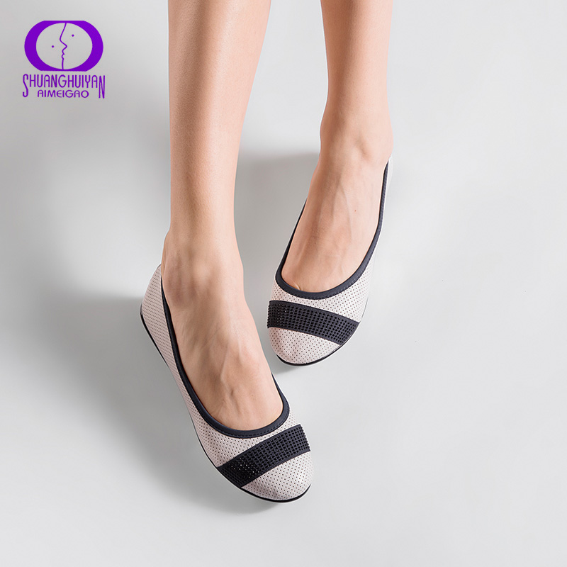 AIMEIGAO Fashion Slip On Women Flats Shoes Soft Leather White Pink Loafers Spring Autumn Comfortable Ballet Shoes For Women spring and autumn new 2015 women shoes serpentine surface women flat slip on higher fashion bost shoes comfortable loafers