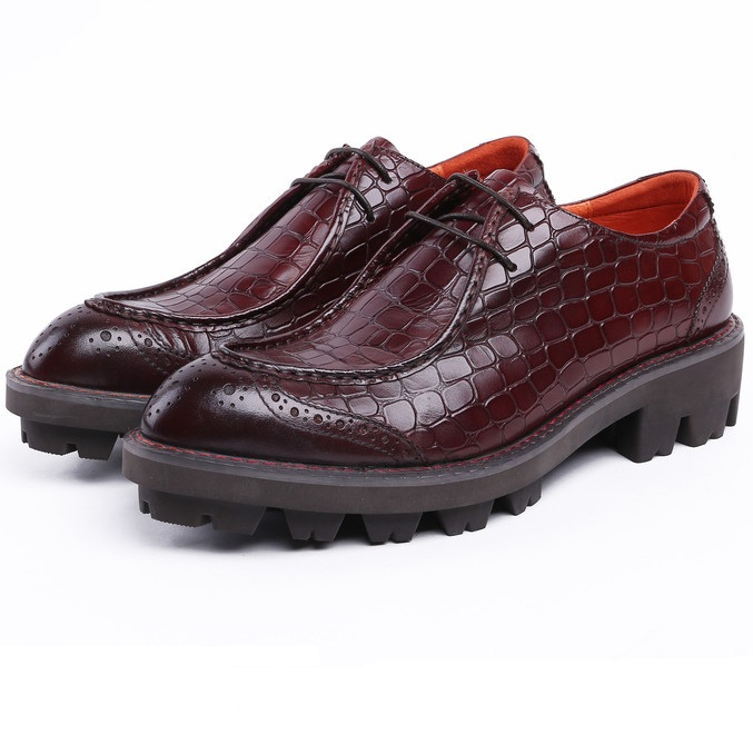 Fashion serpentine Black / brown tan platform business shoes genuine leather wedding sho ...
