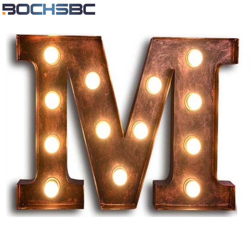 BOCHSBC Vintage Art Deco Wall Lamp Letters M Lights Cafe Bar American Industrial Loft Metal Letter Light Luz de pared Lampara