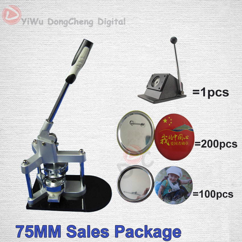 3(75MM )Badge Maker Button Machine+200 Sets Metal Pin back+100set Mirror +paper Cutter fast free shipping discount 75mm 100 sets professional badge button maker pin back pinback button supply materials