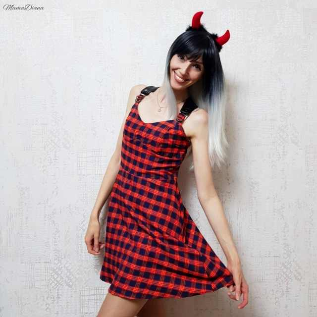 Rosetic Dark Red Plaid Jurk Vrouwen Casual Vintage Plaid Spaghetti Band Sexy Slim Retro Punk Goth Jurken