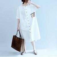 New summer Plus Size loose Cartoon printing Dress Kawaii Bear Big Pockets Cute Printing White short sleeve shirts Dresses