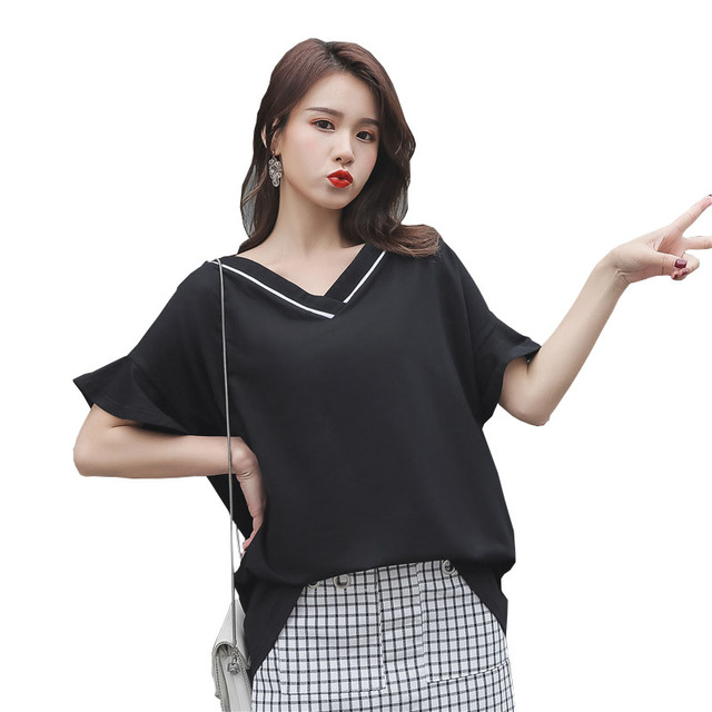 YZ Women Plus Size T shirt Ladies Hollow out Short Sleeve Shirts 2019 New Vintage Casual T-shirt Big Size Summer Tops for Woman