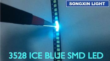 1000 шт., светодиод 3528 ice blue smd, 1210 smd 3528, светодиод ice blue, прозрачный синий светодиод 3,5*2,8*1,9 мм