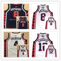 8 Carmelo Anthony 4 Allen Iverson 12 Amare Stoudemire Team USA Basketball Jersey Vince Carter