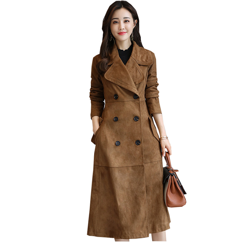 Здесь продается  2018 Spring Autumn Female Long Trench Deerskin Velvet Slim Women Double Breasted Trench Elegant Outwear Coat RE0168  Одежда и аксессуары
