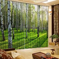 High Quality Lifelike Green Forest 3D Printing Curtains Beautiful Curtains Full Shade Bedroom Living Room Curtains