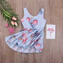 Plaid Dresses Kids Baby Girls Animal Checked Sleeveless Dress