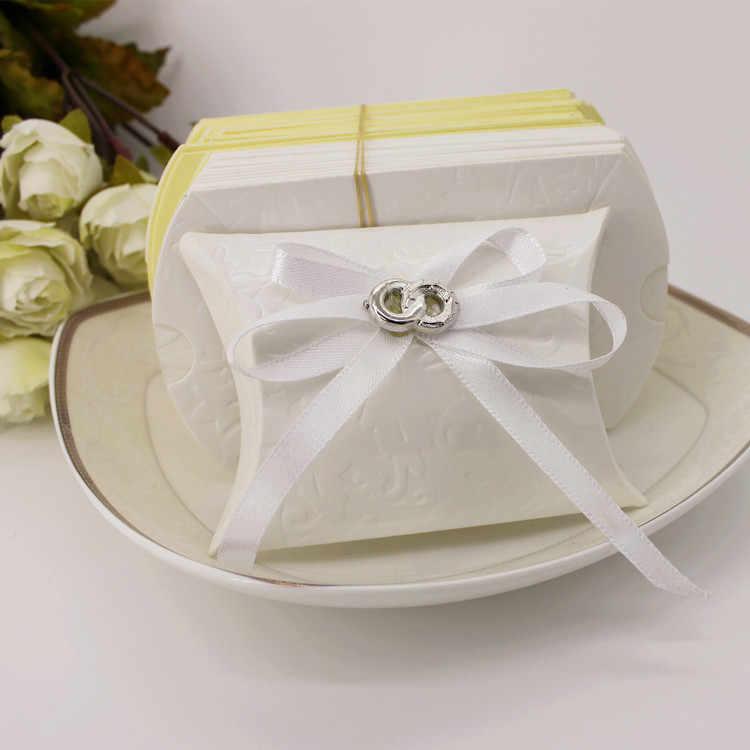 Бесплатная доставка, коробки для конфет с белым бантом, подарочная коробка в форме подушечки для свадьбы, необычная коробка, романтическое украшение для свадьбы Вечерние для малышей