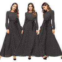 Fashion Women Muslim Maxi Dress Wave Point Dubai Gown Belt Long Sleeve O neck