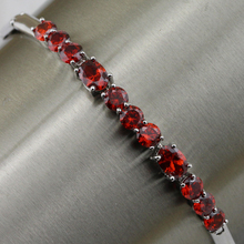 Gallant Great Nice Red Garnet Bracelet Platinum Plated Jewelry Gift For Women BB006C