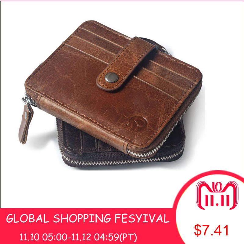 Genuine Leather New Classic Zipper Hasp Coin Purse Black Brown Colors Photo Bit Credit Card Slots Coins Change Pocket hot sale men s genuine leather wallets hasp cross vertical black brown colors change coins purse wallets for men free shipping