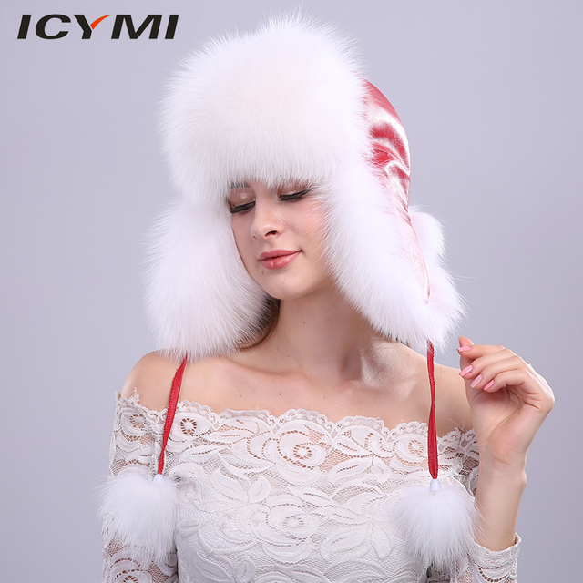 bc6041d572f4a ICYMI 100% Real Fox fur Women s Russian Ushanka Aviator Trapper Snow Skiing  Hat Caps With Ear Flap Winter Raccoon Fur Bomber Hat