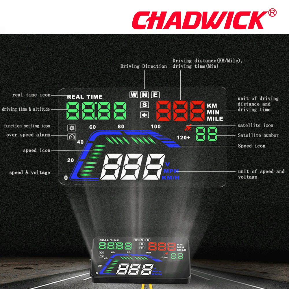 Image 2 - Universal Multi Color Auto Car HUD GPS Head Up Display Speedometers Overspeed Warning Dashboard Windshield Projector CHADWICK Q7-in Head-up Display from Automobiles & Motorcycles