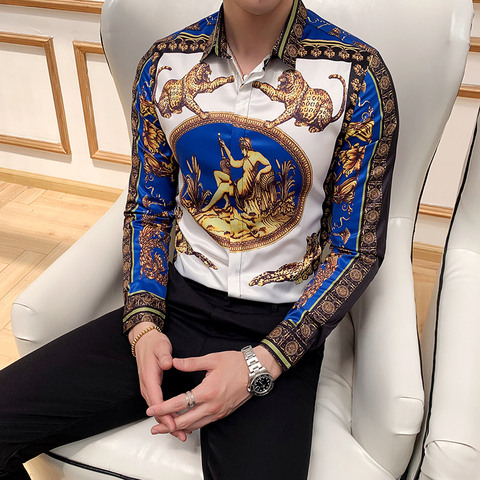mens long sleeve shirts Fashion Social Party Shirts leopard printed Casual Shirts Baroque Long Sleeve mens Slim dress shirts Lahore