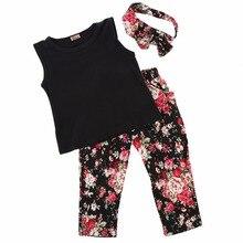 3 piezas conjunto de ropa para niñas y bebés conjuntos de diadema corta Vintage + Camiseta + Pantalones de flores Tops ropa para niños 1 2 3 4 5 6 7 8 T
