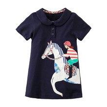 Little Maven New Summer Kids Clothing Blue Short-Sleeved  Applique Equestrienne O-neck Knitted 1-6yrs Cotton Girls Dresses