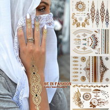 4pcs Indian Arabic Designs Golden Silver Flash Tribal Henna Tattoo Paste Metalicos Metal Tatoo Sticker Sheets On Body Hand