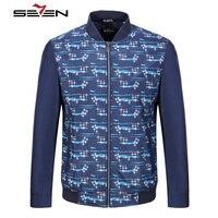 Seven7 인쇄 꽃 폭격기 재킷 남성 패션 슬림 맞춤 남성 캐주얼 재킷 코트
