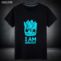100 Cotton Summer Mens Fluorescent Printed Guardians Of The Galaxy T Shirt Male Short Sleeve I