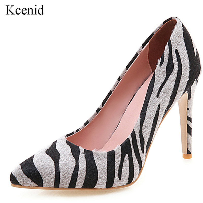 Kcenid Women Pumps Evening-Party-Shoes Pointed-Toe High-Heels Zebra Plus-Size 10cm Thin