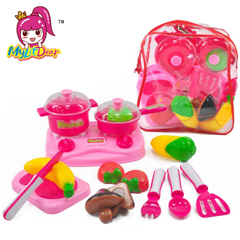 MylitDear Kids Kitchen Toys Plastic Food Toy Fruit Vegetable Cutting Kids Pretend Play Educational Toy Play Food Cooking Toys