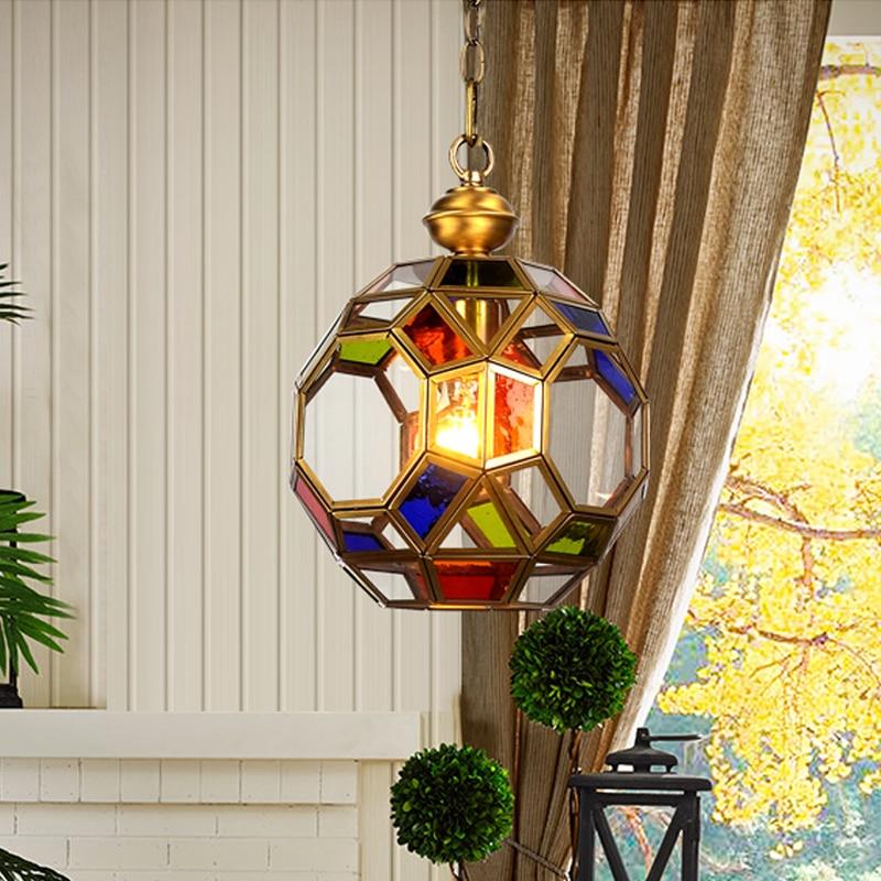 New copper glass pendant lights porch corridor balcony lamp American country big droplight household livingroom decorates lamp
