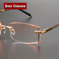New Trimming Myopia Spectacle Optical Prescription Rimless Eyewear Frame Male Eyeglasses Pure Titanium Eye Glasses 097