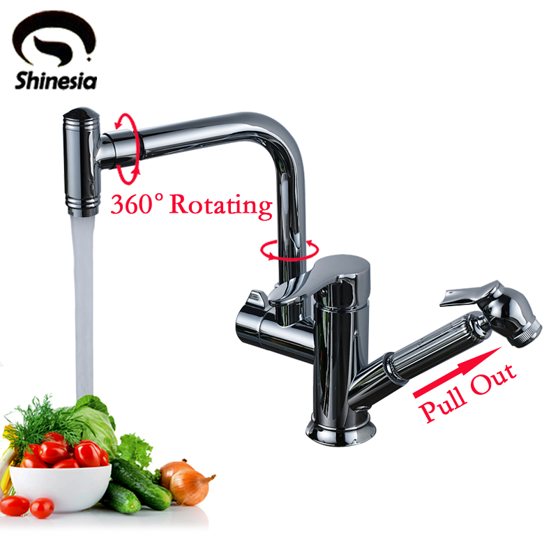 Solid Brass Swivel Spout Kitchen Sink Faucet Double Handle Mixer Tap with Pull Out Sprayer Deck Mounted free shiping chrome brass pull out sprayer brass kitchen sink faucet swivel spout mixer tap kf880 c