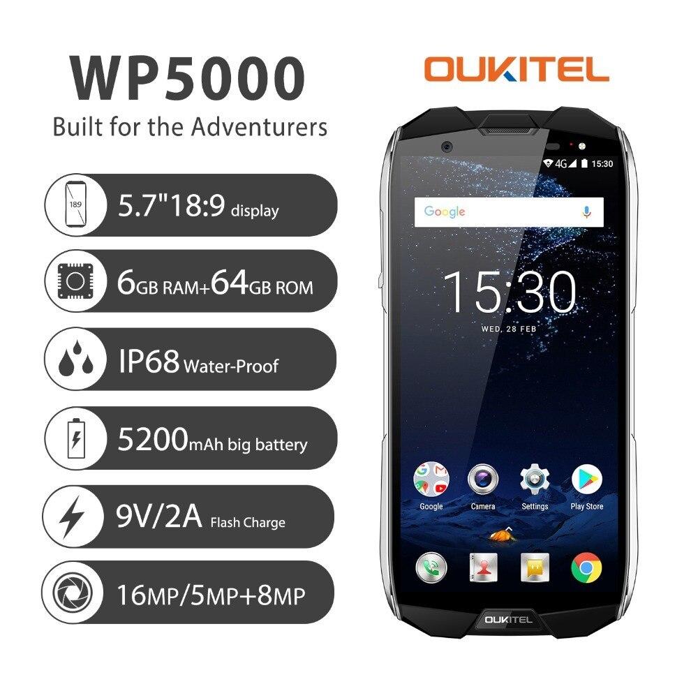 Купить Oukitel WP5000 смартфон Helio P25 64Bit Octa Core 6 ГБ Оперативная память 64 Гб Встроенная память отпечатков пальцев 5,7 дюймов Дисплей 18:9 Водонепроницаемый IP68 ... на Алиэкспресс