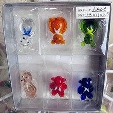 Munuola custom stained glass sculpture bears high quality hand blown cartoon animal decoration Home Furnishing Ornament Set