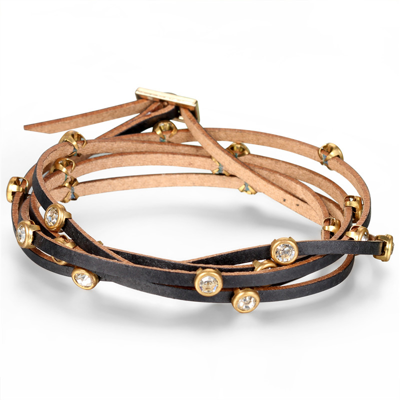 2017 Fashion Rhinestone Wrap Leather Bracelets Multilayer Winding Leather Women Bracelet Vintage ladies Brown pulseiras de couro