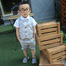 Suits for Baby Boy Costume Cotton Boys Single Breasted Kids Blazers Set Formal Wedding Wear Children Clothing