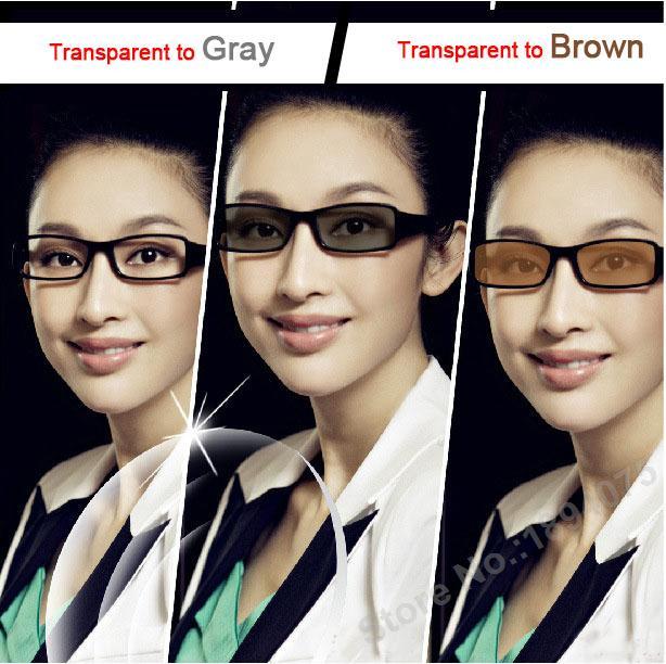 Asférické fotochromické čočky Šedá nebo hnědá změna barvy Optické brýle Myopie Presbyopia Čtení brýlí dioptrické čočky