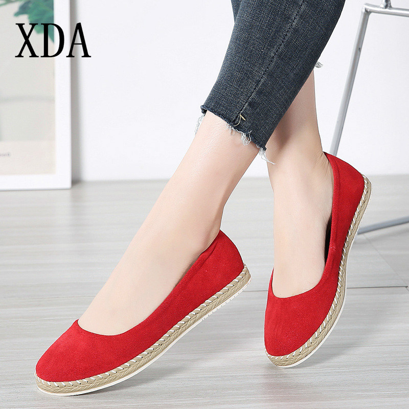 XDA 2019 Spring Women Ballet Flats Shoes   Leather     Suede   Slip on Flats Laides Casual Fisherman Loafers Shoes Woman single shoe D05