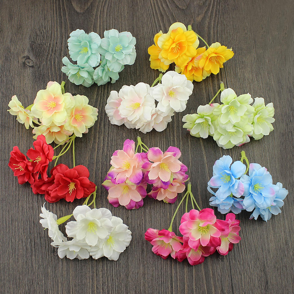 Wholesale 50pieces Artificial Hydrangea Heads Silk Cherry Flowers