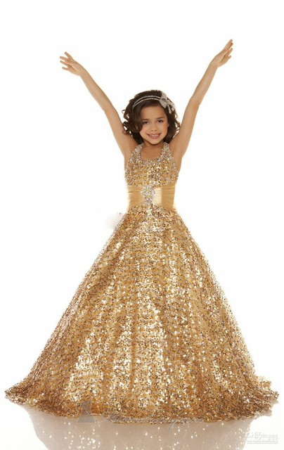 Stunning Beautiful Girls Pageant Dresses With Gold Sequins Kids ...