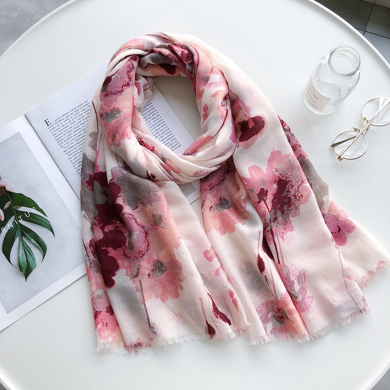 Ladies Fashion Oil Painting Floral Viscose Scarf Women Luxury Brand Shawls And Wraps Cotton And Polyester Muslim Hijab 180*90Cm