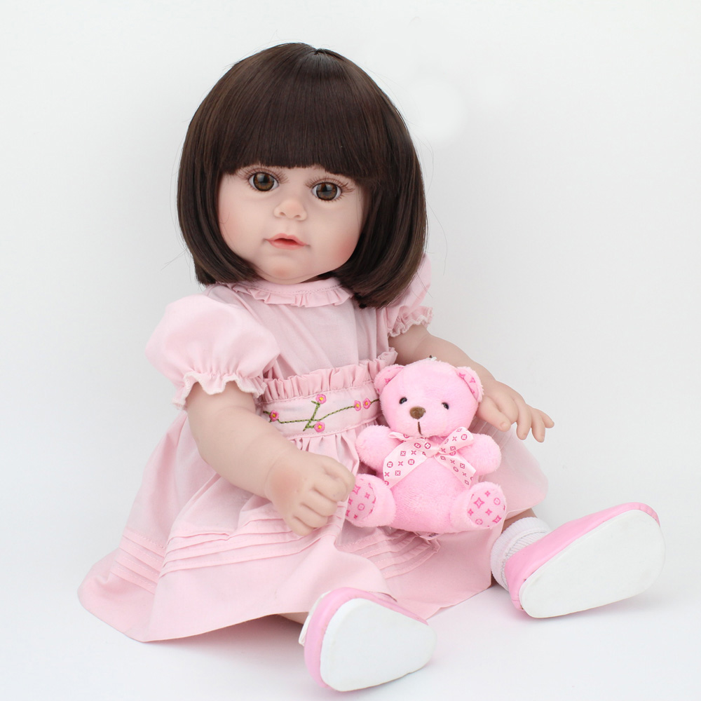 Doll Reborn Baby Newborn Girl Princess Soft Silicone Full Body Pink Dress Brown Hair Little Toys Kids Friend Christmas Gift 17Doll Reborn Baby Newborn Girl Princess Soft Silicone Full Body Pink Dress Brown Hair Little Toys Kids Friend Christmas Gift 17