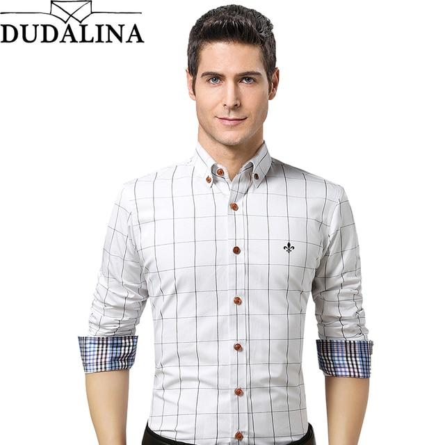 Dudalina Camisa Masculina Roupas de Marca Mens Camisa Xadrez Verão 2019 Slim Fit Camisa de Manga Longa Plus Size Casuais Homens Da Camisa roupas