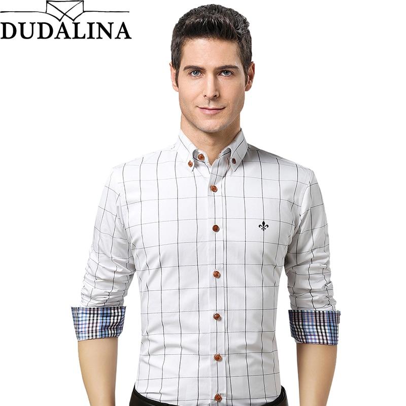 Dudalina Male Shirt Brand Clothing Mens Long Sleeve Shirt 2019 Summer  Plaid Slim Fit Shirt Plus Size Casual Shirt Men Clothes