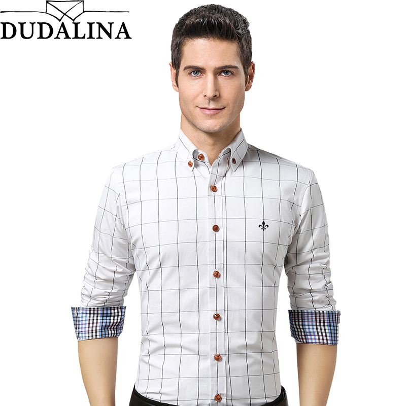 Dudalina Male Shirt Brand Clothing Mens Long Sleeve Shirt 2020 Summer  Plaid Slim Fit Shirt Plus Size Casual Shirt Men Clothes