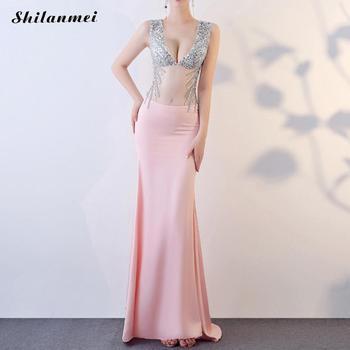 Trendy Women Bling Sequin Long Dress Sleeveless sexy Deep V See Through Look Evening Party Dresses Femme Vestido