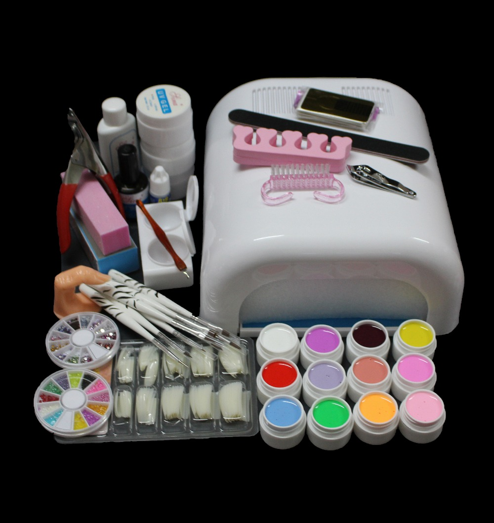 New Pro Full 36W White Cure Lamp Dryer & 12 Color UV Gel Nail Art Tools Sets Kits BTT-90 2017 hot pro full 36w white cure lamp dryer 12 color uv gel nail art tools set kit