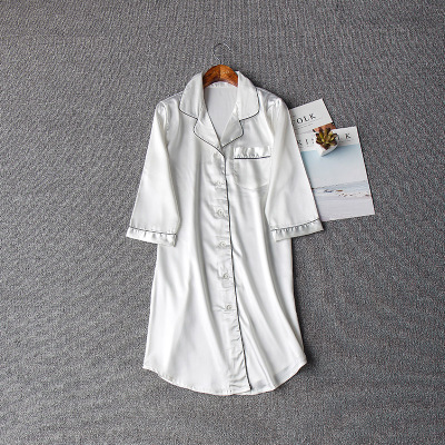 Image 5 - Women Sexy Nightgown Summer Autumn Night Dress Silk Dress Nightie Homewear Casual Blouse Satin Sleepwear Modis Shirt Nightwear-in Nightgowns & Sleepshirts from Underwear & Sleepwears