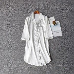 Image 5 - Women Sexy Nightgown Summer Autumn Night Dress Silk Dress Nightie Homewear Casual Blouse Satin Sleepwear Modis Shirt Nightwear