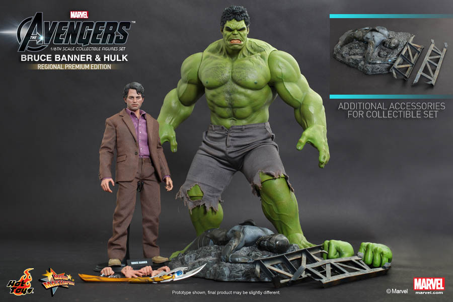 "HT hottoys 1/6 scale doll modle 12 inch"" Action figure doll,Hulk+Bruce Banner,Collection model toys"""