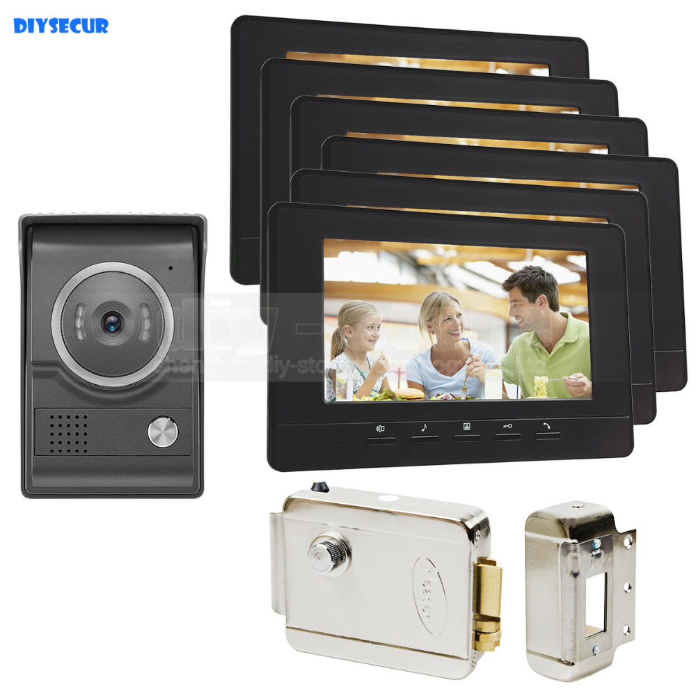 DIYSECUR 7inch Video Intercom Video Door Phone 700TV Line IR Night Vision HD Camera + Electric Lock For Home Office Factory 1V6